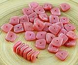 20pcs Valentine Pink Opal Mondstein Flach Gewellten Quadrat-Chip Waschmaschine Tschechische Glas-Perlen 10mm x 4mm