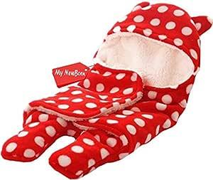 My NewBorn Ultra Soft Baby's Faux Fur Blanket Swaddle Sleeping Bag (Red)