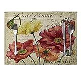 display08 Vintage Blumenmuster Tischset Leinen Tischset Tischset Home Esstisch Dekor 5#