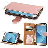 Galaxy J3 2017 Hülle, SOWOKO Leder Etui Flip Case Handyhülle für Samsung Galaxy J3 (2017) Brieftasche Tasche mit Integrierten Kartensteckplätzen und Ständer /Magnetverschluss, Rose Gold