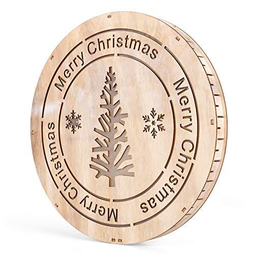(SnowEra LED Dekoleuchte | Holzdeko Weihnachten mit 10 LEDs | Weihnachtsbeleuchtung für die Tür | Dekoration zum Aufhängen oder Hinstellen | Weihnachtsdeko aus Holz FSC 100%)