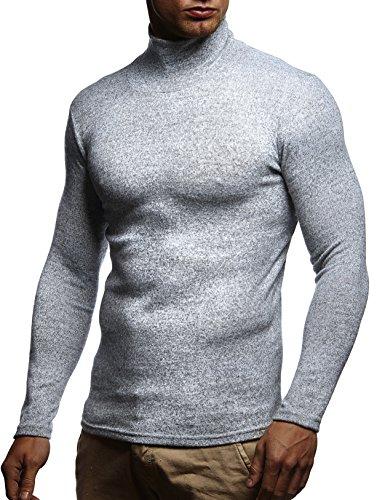 LEIF NELSON Herren Pullover Kapuzenpullover Hoodie Rollkragen Longsleeve Rollkragenpullover acke Langarm Shirt Sweatjacke LN8118; Grš§e L, Grau (Rollkragen-shirt)