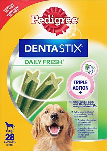 Pedigree DentaStix Fresh Hundesnack für große Hunde (25kg+), Zahnpflege-Snack mit Eukalyptusöl und Grüner Tee-Extrakt, 4 Packungen je 28 Stück (4 x 1,08 kg)