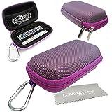 Stylebitz / Étui rigide pour MP3 + écouteurs, mousqueton en métal pour Apple iPod Nano 7è génération avec chiffon de nettoyage Stylebitz (violet)
