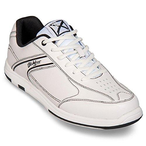KR Strikeforce Flyer Bowling-Schuhe Damen und Herren, für Rechts- und Linkshänder in 4 Farben Schuhgröße 38-48 mit Schuh-Deo Titania Foot Care Weiß