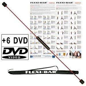 Original Ergobasis Flexi-Bar Set 2020 inkl. 6 Übungs-DVD's mit Transport-Tasche in schwarz und Trainingspläne im Komplett-Set mit den beliebtesten 5 DVDs und einer Überraschungs-DVD für ein völlig neues Körpergefühl