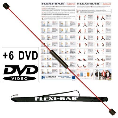 Original Ergobasis Flexi-Bar Set 2019 inkl. 6 Übungs-DVD's mit Transport-Tasche in schwarz und Trainingspläne im Komplett-Set mit den beliebtesten 5 DVDs und einer Überraschungs-DVD für ein völlig neues Körpergefühl