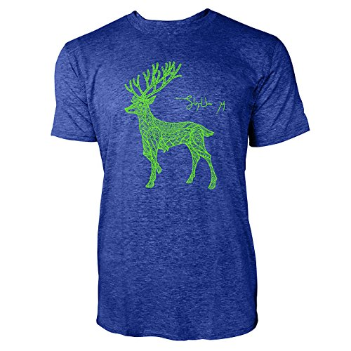 mit Ornamenten Herren T-Shirts in Vintage Blau Cooles Fun Shirt mit tollen Aufdruck (Rentier Ornament)