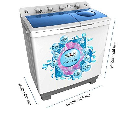 Mitashi 9.8 kg Semi-Automatic Top Loading Washing Machine (MiSAWM98v25 AJD, White and Grey)