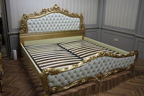 Barock Bett Doppel Bett 180x200 Schlafzimmer Antik Stil VP7713KLeder/Strass-04 168x200 cm antik Stil Massivholz. Replizierte Antiquitäten von LouisXV Buche (Ahorn, Mahagoni, Eiche) Antikmessing Beschläge, furniert, intarsiert