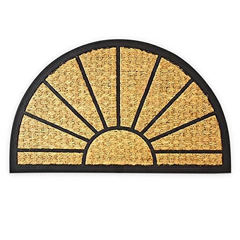 Relaxdays Fußmatte Kokos halbrund 75 x 45 cm Kokosmatte mit rutschfester PVC Unterlage Fußabtreter aus Kokosfaser als Schmutzfangmatte und Sauberlaufmatte Fußabstreifer für Außen und Innen, braun