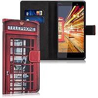 kwmobile Funda para Wiko Fever 4G - Wallet Case plegable de cuero sintético - Cover con tapa tarjetero y soporte Diseño London Telefon en rojo negro blanco