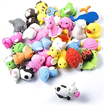 Cute Animals Style Toys 30 Pcs Rubber Pencil Eraser Set Party Favors Educational for Boys Girls Twister.CK Animal Erasers