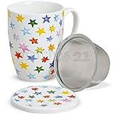 matches21 Teetasse Teebecher bunte Sterne sort. 1 Stk. mit Deckel & Teesieb aus Porzellan 11 cm / 300 ml