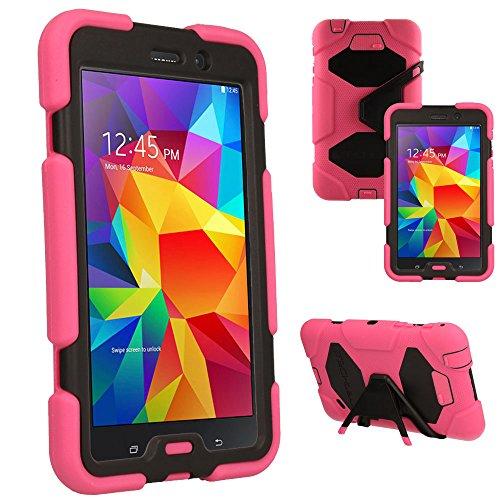 TECHGEAR® G-Shock Étui pour Galaxy Tab 4 7.0 Housse Coque Rigide, Très Haute Protection Anti-Choc avec Support Amovible Compatible pour Samsung Galaxy Tab 4 7.0 Pouces (Séries SM-T230) [Rose]