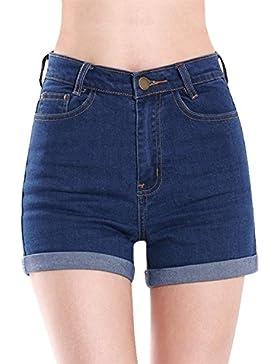 Donne Jeans vita alta Hotpants elastici pantaloncini Denim ( Blu Scuro EU M )