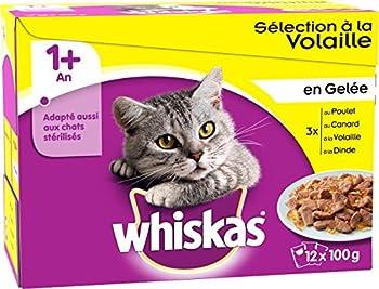 WHISKAS - Sélection à la Volaille en Gelée 1+ - Sachets Fraîcheur pour chats 12 x 100g - Lot de 4