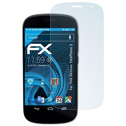 atFolix Schutzfolie kompatibel mit Yota Devices YotaPhone 2 Folie, ultraklare FX Displayschutzfolie (3X)