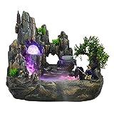 TangMengYun Indoor Brunnen Steingarten Brunnen Fischteich Feng Shui Berglandschaft Bonsai Luftbefeuchter Desktop Landschaft 30 * 18 * 26 cm (Größe : 30cm)