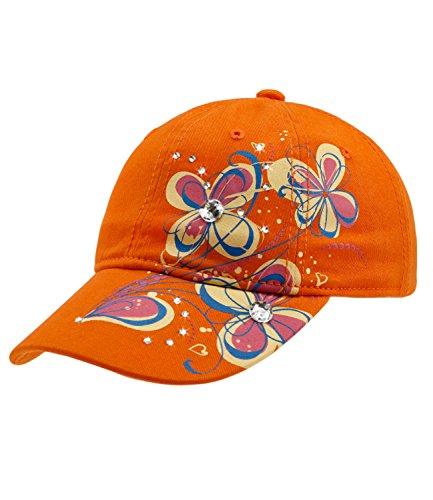 Äpfel & Orangen, Baumwolle Hut (Fiebig Mädchencap Kindercap Basecap Baseballcap Cappy Cappie Sommercap Blumenprint Glitzersteine Größenverstellbar (FI-85319-S16-MA0-43-53) in Orange, Größe 53 inkl. EveryHead-Hutfibel)