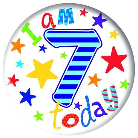 Badge 5cm Happy Birthday Age 7 - Boy Birthday Party Favor