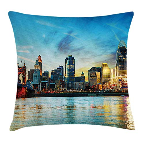 ow Pillow Cushion Cover, Overview of The City Nighttime at Dusk Twilight Bridge Ohio River Waterfront, Decorative Square Accent Pillow Case, Multicolor,20 X 20 Inches ()