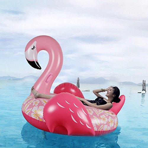 WISHTIME Riesiges aufblasbares Flamingo-Spielzeug für den Sommer und draußen, zum Aufsitzen auf der Insel