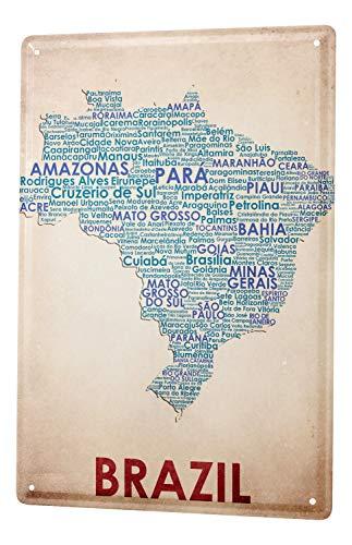 Blechschild Welt Reise Kartenausschnitt Brasilien Wand Deko Schild 20X30 cm