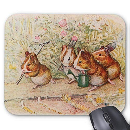 Planting Rose Garden (Guinea Pigs Planting in The Garden Mouse Pad 18×22 cm)