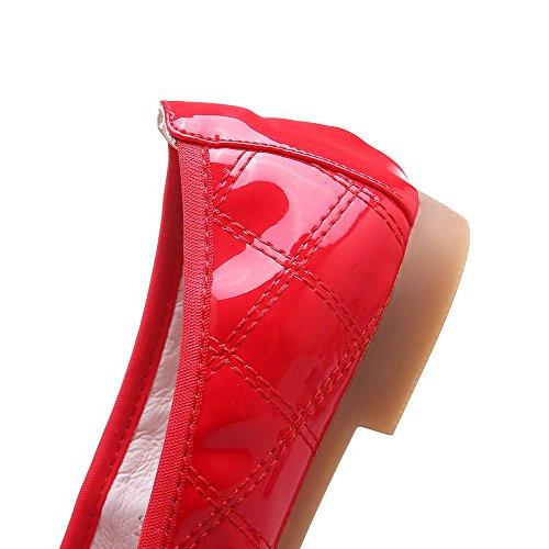 VogueZone009 Femme Rond à Talon Bas Verni Couleur Unie Tire Chaussures Légeres Rouge