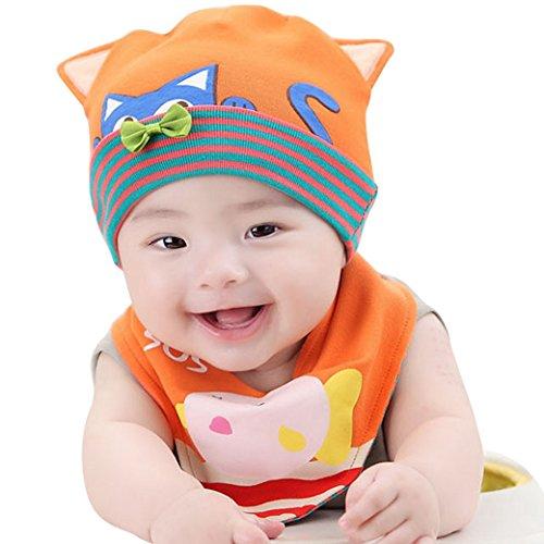 Happy Cherry Baby Mütze Lätchen von 2 Set Kids Mädchen Jungen Unisex Wintermütze Winterschal Baby Bibs Cartoon Katze Baumwollmischung Streifen Hut Schal Sets Scarf Hat - Orange