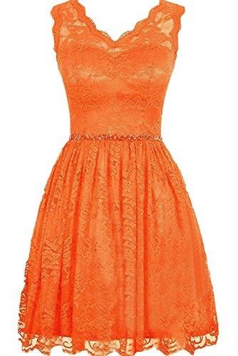 Milano Bride Traube Spitze Kurz Brautjungfernkleider Abendkleider  Partykleider Promkleider Mini Rock A-linie Orange