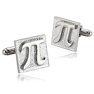 Aeici Herren Manschettenknopf Silber Platz Mathematik Spaß Pi Symbol Manschettenknöpfe