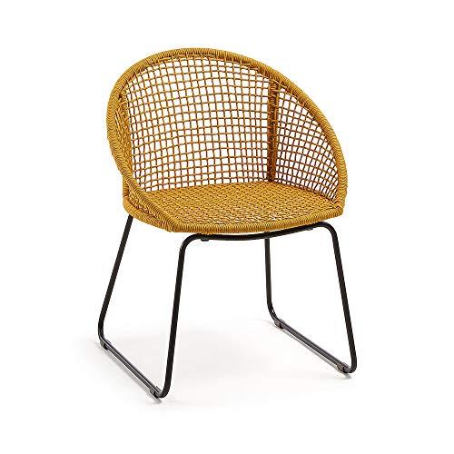 Kave Home Chaise avec accoudoirs Sandrine Corde Moutarde et Pieds Acier Noir