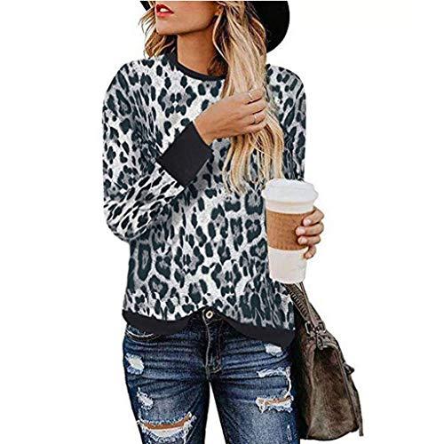 UFACE Femme Manches Longues Imprimé Léopard T-Shirt Sexy Chic Sweat-Shirt Top Coutures Contrastantes Couleurs Chaudes Automne Nouvelle élégance