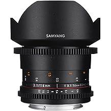 Samyang VDSLR - Objetivo fotográfico para Canon M (14 mm, T3.1 ED, AS IF UMC II), negro