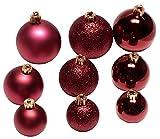 Weihnachtskugel Mix dunkelrot 30 Stück Weihnachtsdeko Kunststoff Weihnachtskugeln Dekokugeln Weihnachtsbaumschmuck Weihnachtsschmuck Zierschmuck Weihnachten Baumschmuck