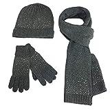 MERRYHE Damen Strass Beanie Hüte Handschuhe Schal Set 3 Stück Winter Warm Woolen Fäustlinge Cap Schals Für Frauen Mädchen,Grey-OneSize