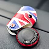 9 MOON Red Blue Union Jack UK Flag Style Real Leather Key Fob Cover Holder fit For 2008-up MINI Cooper R55 R56 R57 R58 R59 R60 R61 F55 F56