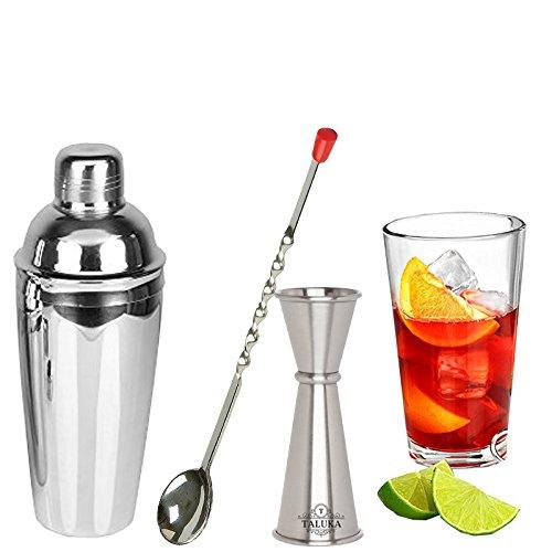 taluka 3PC Edelstahl Wein und Cocktail Bar Set, 750ml Wein Shaker Messen Jigger und mischen Bar Löffel (1bar Löffel + 1Maßnahme Jigger + 1Cocktail Wein Shaker)
