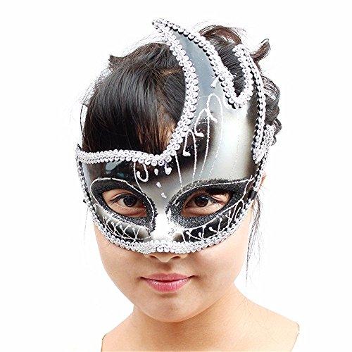 (Masken Gesichtsmaske Gesichtsschutz Domino falsche Front Halloween Maske Make-up Tanz Maske Cosplay Maske Party für Männer und Frauen Maske Show Show Maske Schwarz)