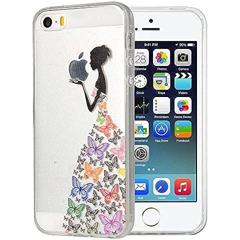 iPhone 4 4S Cover , YIGA Nero Ragazza Farfalla Trasparente Silicone Cristallo Morbido TPU Case Custodia per Apple iPhone 4 4S