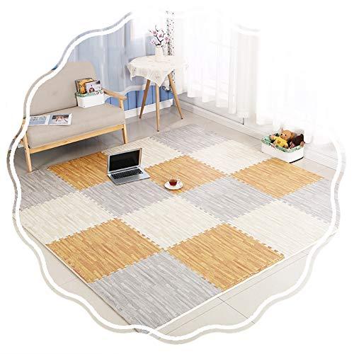 JIAJUAN-Puzzlematte Baby Kinder Ineinandergreifend Schaum Matten Wasserdicht Spielmatte Montieren Holz Korn Oberfläche Fußboden Fliesen Matte (Color : C, Size : 60x60x2cm-10 pcs)