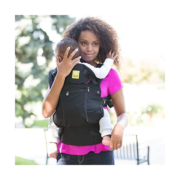 LÍLLÉbaby  Complete All Seasons 6-in-1 Baby Carrier, Black Lillebaby With a temperature regulating breathable panel that unzips to encourage airflow in warm conditions and 6 carrying positions - Foetal, infant inward, outward, toddler inward, hip, back - The only carrier you'll ever need! Suitable from 3.2- 20kg (birth to approx. 4 years old), providing extended comfortable use for parent and child with no additional infant support required for new-borns - the ergonomic adjustable seat is acknowledged as 'hip-healthy' by the International Hip Dysplasia Institute Unique spacious head support with elasticated straps - soothes infants with gentle lulling motion and provides excellent support as children grow 7