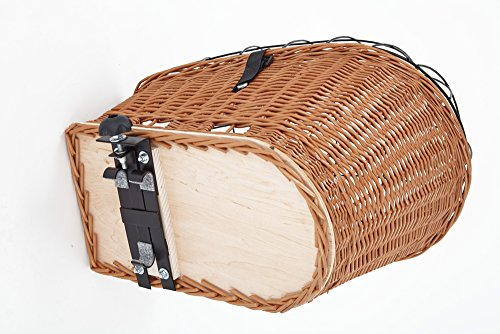 Tigana – Hundefahrradkorb für Gepäckträger aus Weide 56 x 36 cm mit Metallgitter Tierkorb Hinterradkorb Hundekorb für Fahrrad - 2