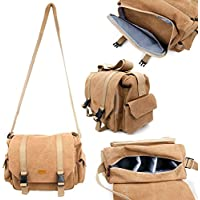 DURAGADGET Tan Brown Large Canvas Bag - Compatible with Panasonic LUMIX DMC-FZ200, FZ72EF, FZ1000 and LUMIX DMC-G GH4 and G7, G70 SLR Cameras, Bridges and Accessories - Includes Modular Compartments