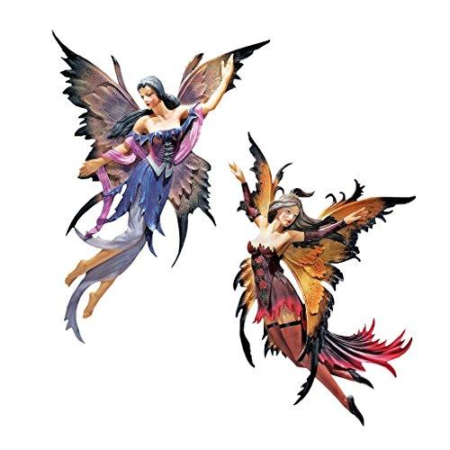 Design Toscano Feen des verzauberten Hains, Wandfiguren (Set beinhaltet: Vogelbeere und Weide)