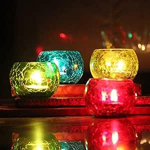 Brahmz® Glass Tea Light Candle Holder Home Decoration Mosaic Multi Color Candle Votive Crackle Glass (Multi Pack of 4)