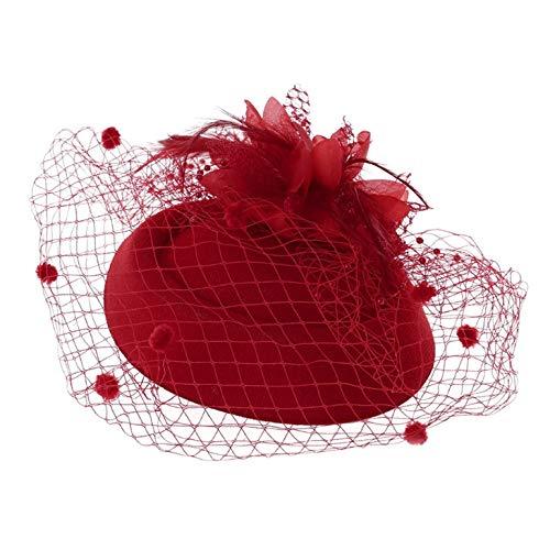e Haarspange Stirnband Hut Schleier Hochzeit Party Neue Haarspange Rose rot Frauen Schleier Mesh Headwear Hut Bowler Hüte ()