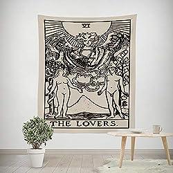 Mallalah Tarot Tapiz La Luna La Estrella El Sol Tapiz Medieval Europa Adivinación Tapiz Tapices Colgantes de Pared Misterioso Tapiz de Pared para la decoración del hogar
